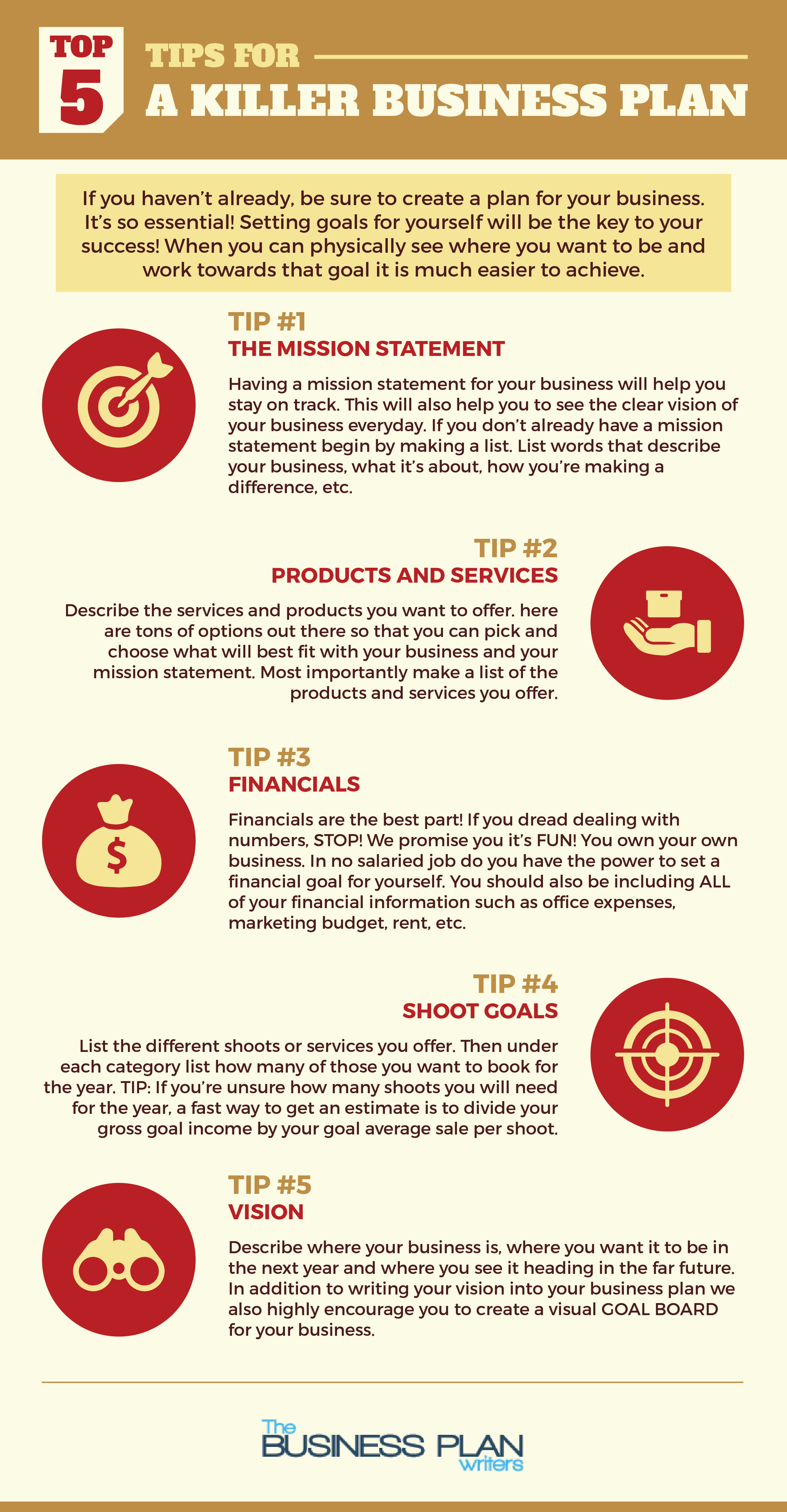 Top 5 Tips for a Killer Business Plan Infographic